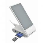USB-разветвитель (2 порта) с картридером и зарядным устройством для мобильного телефона; белый с сер