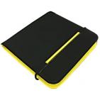 "CD-холдер ""New Style"" 24 диска; черный/желтый; 15,8x15,8x1,5 см; полиэстер, микрофибра; шелкография"