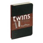 Набор блокнотов Twins (2 шт, красный+черный), А5, бежевый блок, без обреза, ляссе, 40 листов