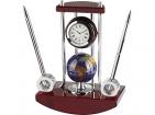 Настольный прибор «Сенатор»: часы с глобусом, две ручки на подставке