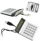 Калькулятор многофункциональный с подсветкой,часами,календарем и USB-разветвителем,8,5х11х2см,пласти