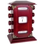 Ретро-календарь; 13х10х17,5 см; красное дерево; шильд, лазерная гравировка