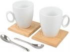 Набор: 2 чашки на 250 мл, 2 деревянные подставки, 2 ложки