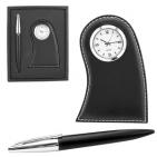 """Набор """"Лондон"""": часы настольные и ручка; 19,5х15,5х2,5 см; иск. кожа; лазерная гравировка, шильд"""