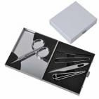 Набор маникюрный (5 предметов) с зеркалом; 7х8х1,9 см; металл; лазерная гравировка