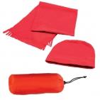 """Флисовый набор """"Winter"""" шапка и шарф в чехле, красный, флис, 180 гр/м2"""