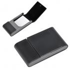 "Визитница ""Aluminium"", черная, 10.5x6 x1.8 см, иск. кожа, алюминий"