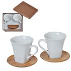 """Набор """"Натали"""": две чайные пары в подарочной упаковке, 200мл, фарфор, бамбук"""