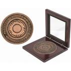 """Медаль наградная """"Бронза""""; бронзовый; 12х12х2,2 см; D=8,7 см; металл, дерево, стекло; лазерная грави"""