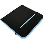 """CD-холдер """"New Style"""" 24 дис; черный/голубой; 15,8x15,8x1,5 см; полиэстер, микрофибра; шелкография"""