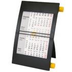 Календарь настольный на 2 года; черный с желтым; 18х11 см; пластик; тампопечать, шелкография