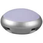 USB-разветвитель на 4 порта с подсветкой (длина провода 93см);D=7 см; H=3,6 см; пластик; тампопечать