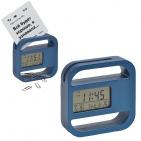 """Часы-подставка для скрепок и записок """"WINDOW"""" 9,5*9,5 см, синий, пластик; тампопечать"""