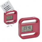 """Часы-подставка для скрепок и записок """"WINDOW"""" 9,5*9,5 см, бордовый, пластик; тампопечать"""