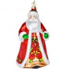 """Игрушка елочная ручной работы """"Дед Мороз"""" в деревянной коробке, 20*16 см, стекло/дерево"""
