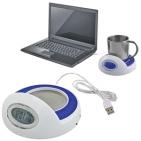 USB-разветвитель с часами и подставкой для кружки с подогревом; белый с синим; D=14см, H=7см; пласти