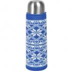 "Чехол  вязаный  на бутылку/термос ""Зимний орнамент"",  синий, акрил,  шеврон"