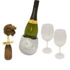 """Набор """"Аргентинское танго"""": кулер для вина из """"ледяного"""" камня, два бокала для вина, штопор """"Лев"""""""
