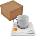 """Чайная  пара """"Гармония"""" с ложечкой в подарочной упаковке; 200 мл; фарфор; деколь"""