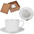 """Чайная пара """"Серебро"""" в подарочной упаковке, 15,1х14,3х7,5см,200мл, фарфор"""