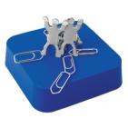 "Подставка  для скрепок и записок ""Команда"", синий; 9х9х2,4 см; металл, пластик; тампопечать"