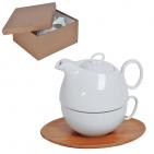 """Набор """"Мила"""": чайник и чайная пара в подарочной упаковке, 500мл и 300мл, фарфор, бамбук"""