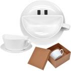 """Чайная пара """"Смайл"""" в подарочной упаковке, 17х17х9,7см, 200мл,фарфор"""