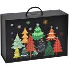 """Коробка  подарочная складная """"Зимняя ночь"""" , черный, 37х25х10 см,  кашированный картон, тиснение"""