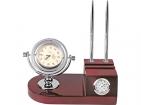 Настольный прибор «Эскалибур»: часы, термометр, подставка под ручки и визитки, две ручки