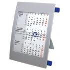 Календарь настольный на 2 года; серый с синим; 18х11 см; пластик; шелкография, тампопечать