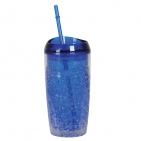 """Кружка охлаждающая  """"ICE""""  с соломинкой, в подарочной упаковке , 450 мл, синий, пластик, тампопечать"""