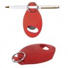 Открывалка с держателем для авторучки на магните; красный; 8,9х4,8х1,5 см; пластик; тампопечать