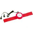 FM-радио с функцией автопоиска и наушниками; красный; 1,8 см, D=6 см.; пластик, текстиль; тампопечат