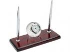 Настольный прибор «Магнат» с часами в виде глобуса и двумя ручками