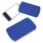 "Зеркало с пилкой для ногтей ""Визаж""; синий; 9,4х5,4х0,8 см; пластик; тампопечать"