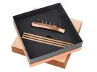 Набор «Морской лайнер»: точилка для карандашей, 3 карандаша в подарочной упаковке металл/дерево