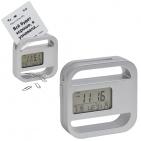 """Часы-подставка для скрепок и записок """"WINDOW"""" 9,5*9,5 см, серебро, пластик; тампопечать"""
