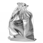 Мешочек подарочный из серебристой парчи, средний