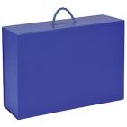 Коробка  складная подарочная  с ручкой,  синий, 37x25 x10cm,  кашированный картон, тисн,  шелкогр.
