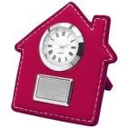 """Часы настольные """"Домик""""; красный; 7,5х9 см; искусственная кожа, металл; лазерная гравировка"""