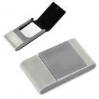 """Визитница """"Aluminium"""", белая, 10.5x6 x1.8 см, иск. кожа, алюминий"""