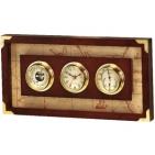 """Часы с барометром и гигрометром """"КАПИТАН"""" 47,8х24,2х6 см; металл, дерево; шильд, лазерная гравировка"""